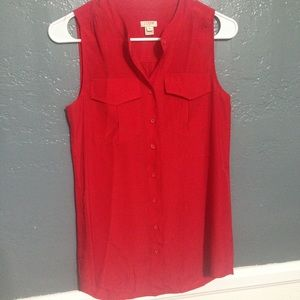 J. Crew Red Sleeveless Button Down